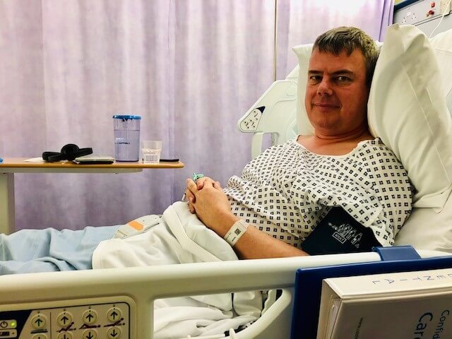 Stephen in hospital after his 2nd hip replacement